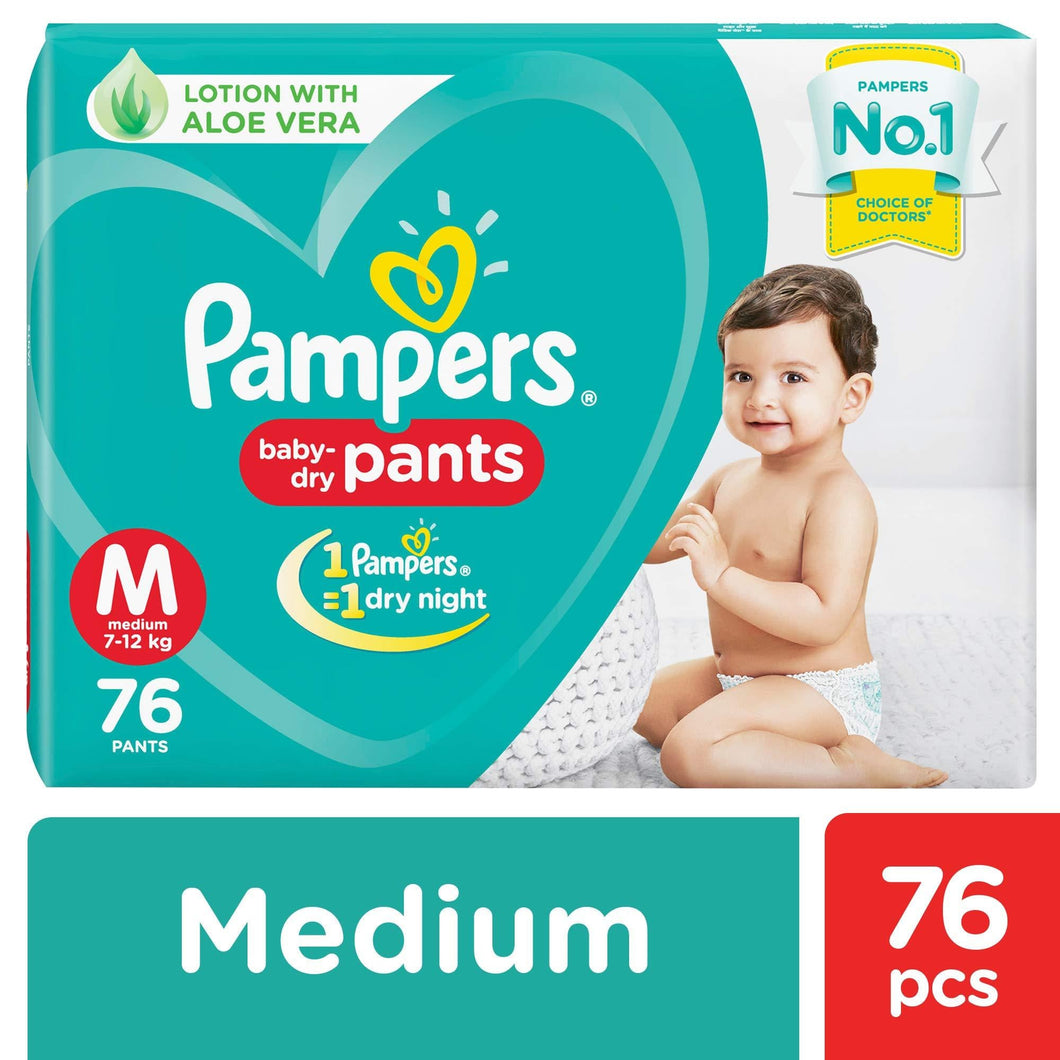 Pampers New Diapers Pants, Medium (76 Count) - Pinkybaby.in