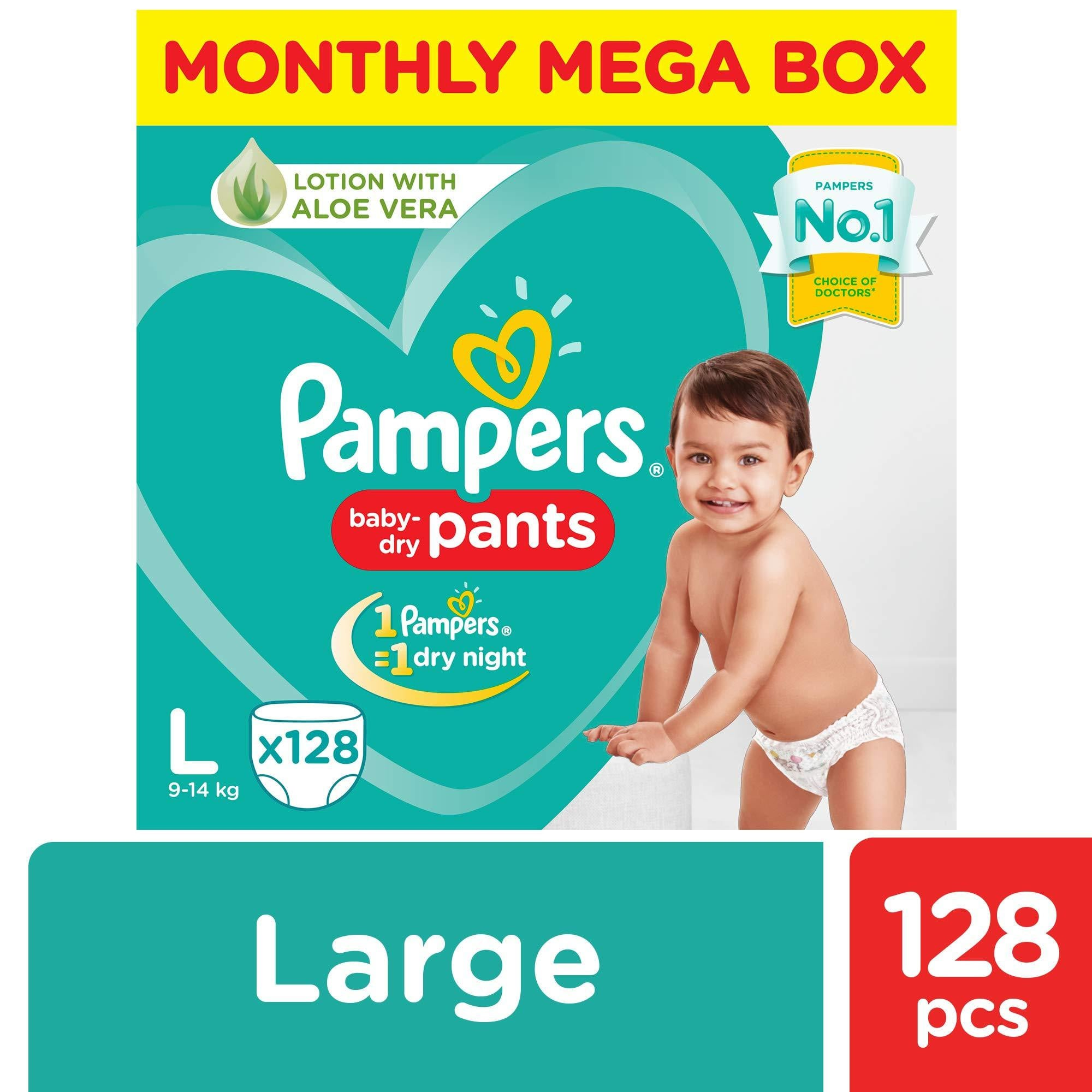 Pampers New Diapers Pants Monthly Box Pack, Large (Pack of 128) - Pinkybaby.in