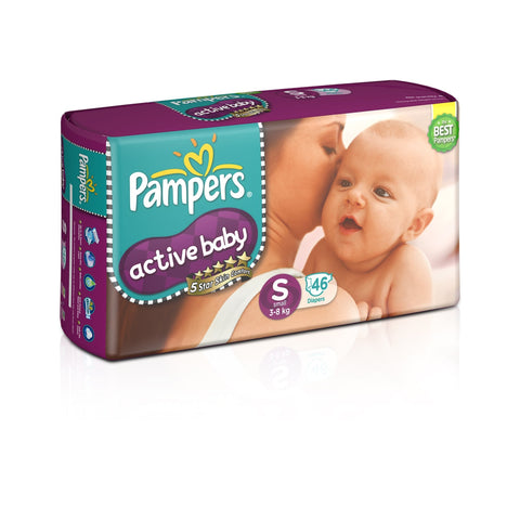 Pampers Active Baby Diapers, Small (46 Count) - Pinkybaby.in