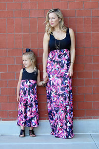 Floral Matching Long Dress