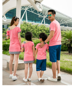 Pink and Grey Family Matching Dress