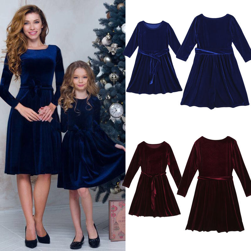 Mother and Daughter Velvet Party Wear