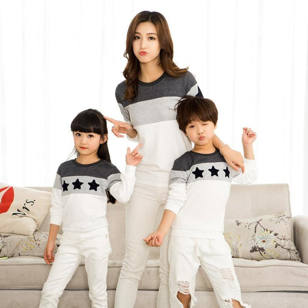Matching Family Dresses - Striped T Shirt and Star Printed - Pinkybaby.in