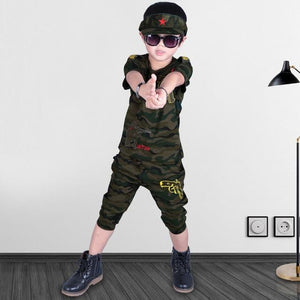 Rifle Embroidered Camouflage Boys Dress for Summer - Pinkybaby.in