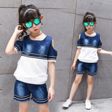 Elegant Two Pieces Denim Wear for Girls - Pinkybaby.in