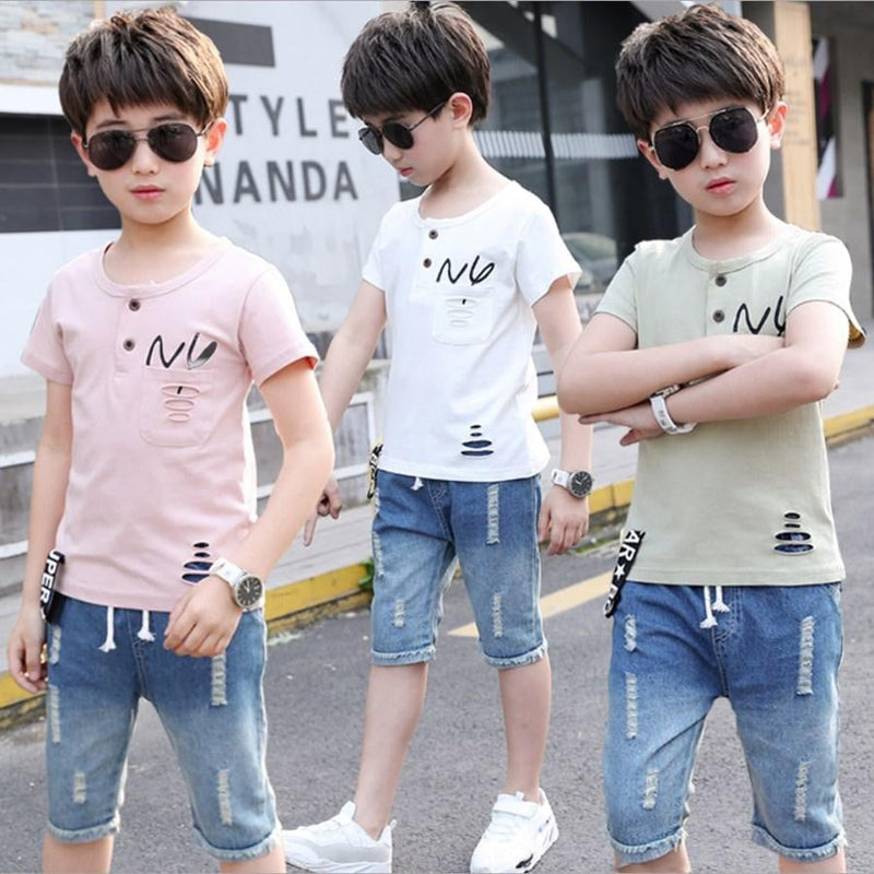 Simply Casual T-Shirt and Jeans Short Pants for Boys - Pinkybaby.in