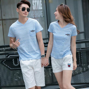 Blue T-Shirt and White Shorts Family Outfit - Pinkybaby.in