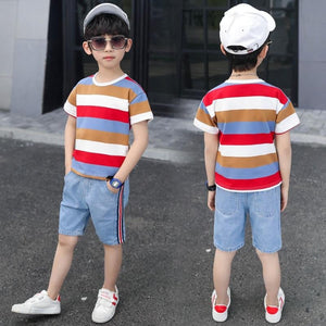 Cartoon Striped T Shirt + Denim Shorts for Boys - Pinkybaby.in