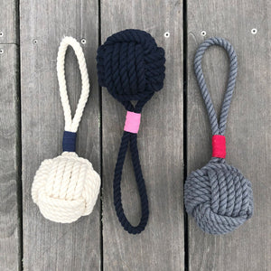 Large Monkey Fist Rope Dog Toy White, Gray or Navy Blue Wholesale