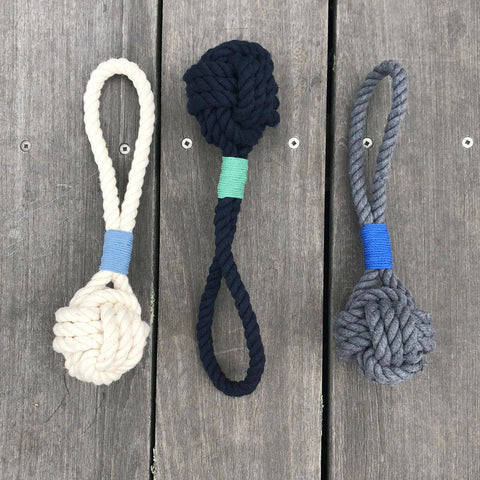 Small Monkey Fist Rope Dog Toy White, Gray or Navy Blue Wholesale