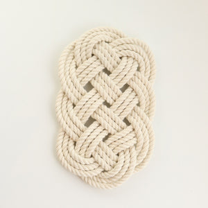 Woven Ocean Plait Trivet Natural White