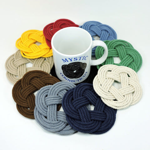 Sailor Knot Coasters, Tied and tagged 4 pack Wholesale - Mystic Knotwork nautical knot