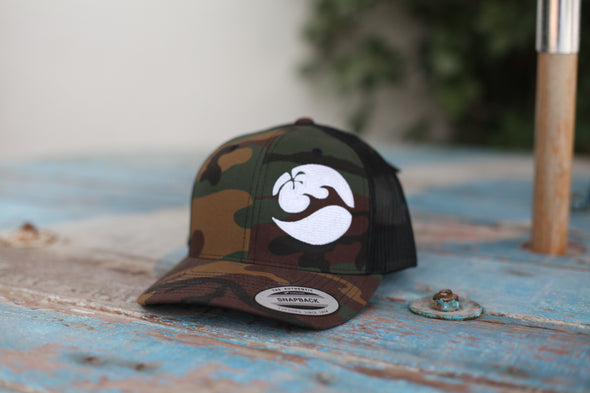 Surf House Dubai Camo Curved Trucker