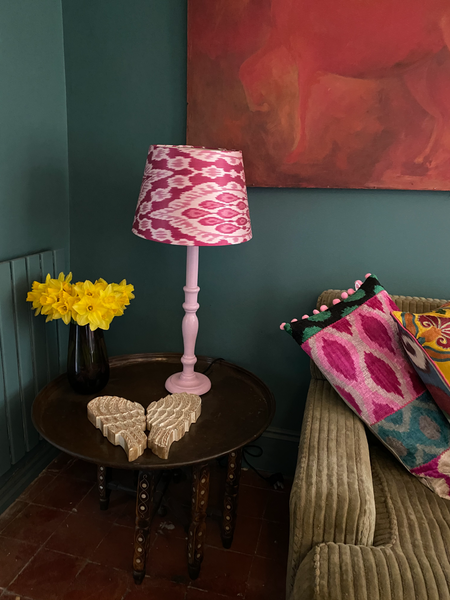 Painted Wooden Lamp - Pale Pink