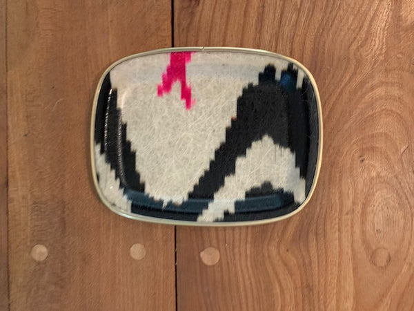 Black and pink silk ikat fibreglass trinket tray