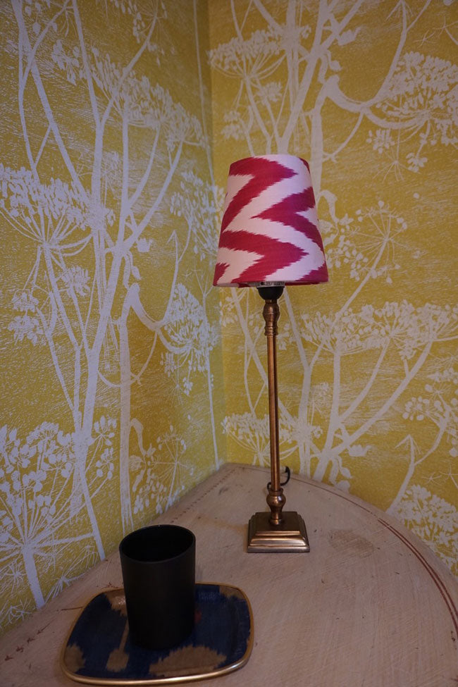 Classic pink and white zig zag mini cone lampshade