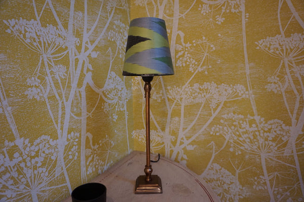 Green, lime and black zig zag mini cone lampshade