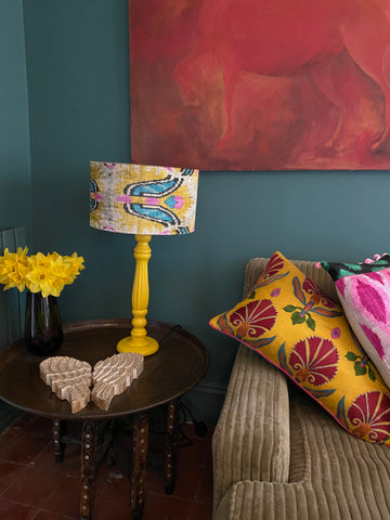 Painted Wooden Lamp - Yellow