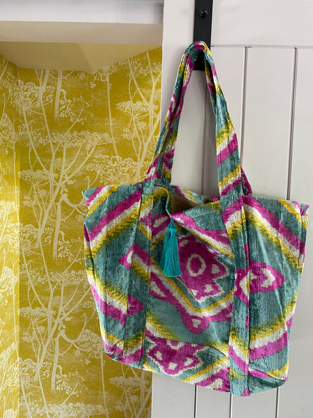Velvet ikat chuck it all in bag - Green, Pink & Yellow
