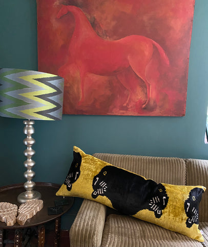 Velvet Ikat XL cushion - Panther
