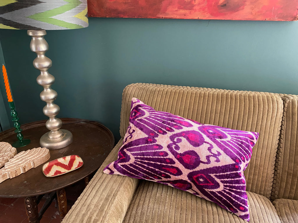 Fabulous Purple - Velvet Ikat Cushion