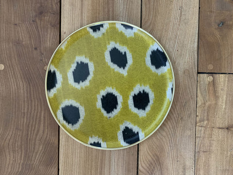 Lime green and black spot silk ikat fibreglass 30cm tray