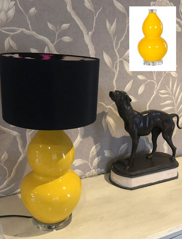 Yellow ceramic lamp with perspex base