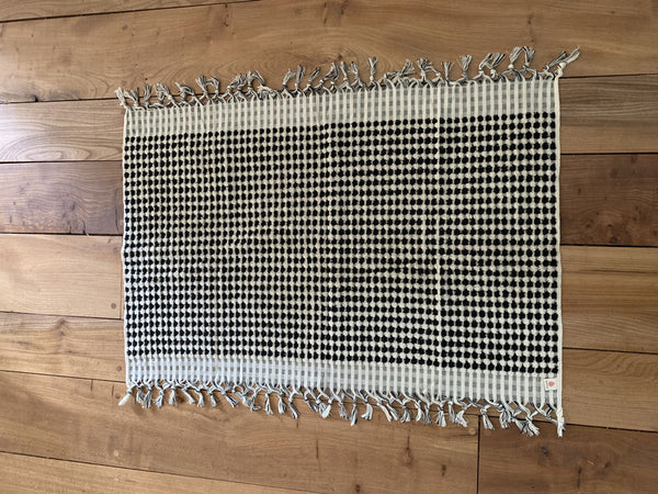 Beautiful black and off white bath mats