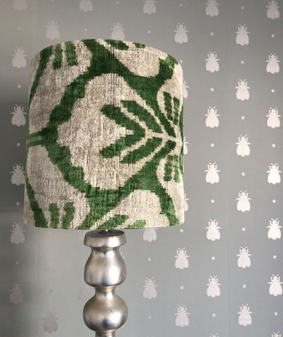 Green ripple silk velvet ikat lampshade