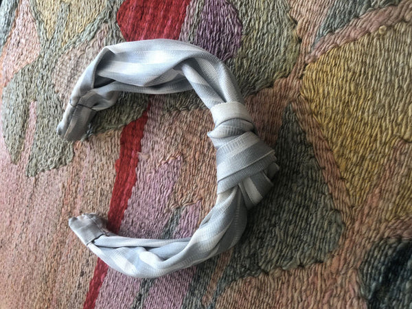 Grey stripe silk ikat hairband