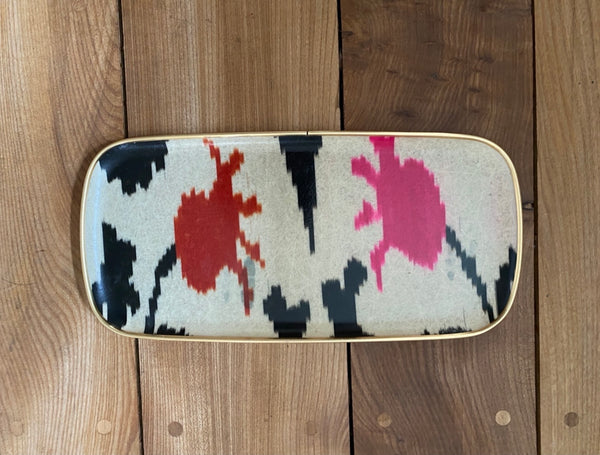 Black, neon pink and orange  rectangular silk ikat fibreglass tray