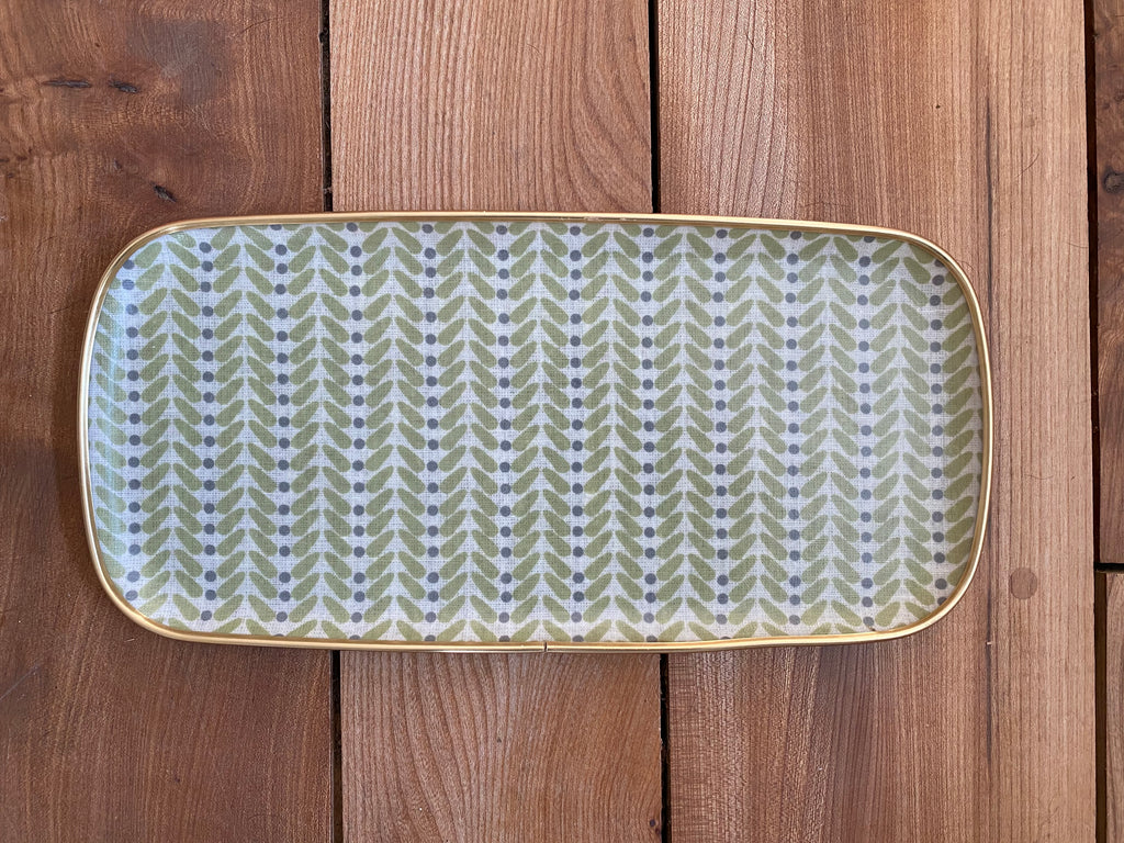 Pretty green rectangular silk ikat fibreglass tray