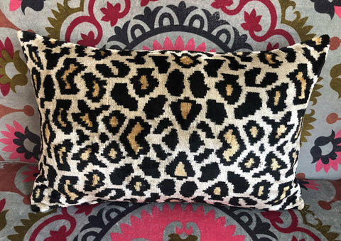 Leopard design velvet ikat cushion