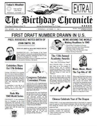 What happened on the day you were born on?, Birthday Chronicle, birthday newspaper, What happened on the day I was born, Birthday, front page newspaper, personalized unique gifts