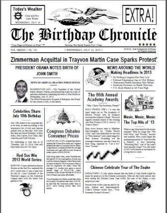Front page Newspaper on your Birthday, CELEBRATE A BIRTHDAY THIS CAN BE A GREAT GIFT TO GIVE TO SOMEONE ON HIS OR HER BIRTHDAY, WHO WAS PRESIDENT?, WHAT HAPPENED IN THE NEWS AROUND WORLD, IT A CUTE THING TO SEE