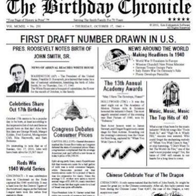 What happened on the day you were born, birthday chronicle,What happened on the day I was born, birthday newspaper, front page, personalized-unique-gifts.com