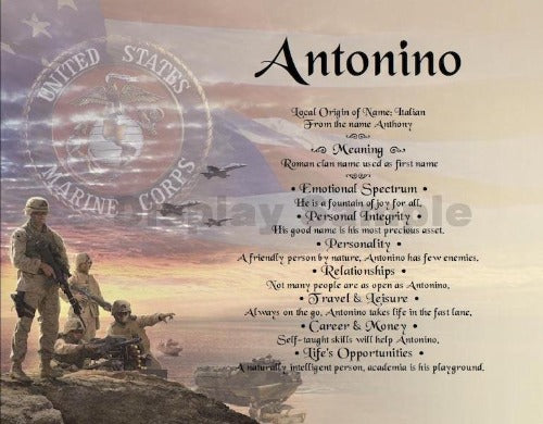 first name meaning, memorial day, soldier, Antonino, name gift, Personalized-Unique-Gifts, personalize gifts, personalized gifts