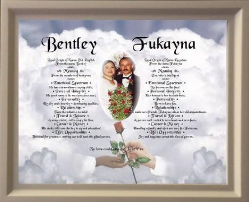 Two Names Together With Meaning With Your Own Photo On Background Plus Wooden Frame - $54.99