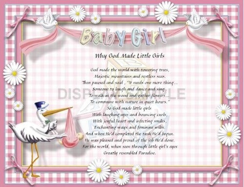 Why God Made Little Girls, Baby Girl, My daughter poem, Personalized Gift, Personalize Gifts, Design Gifts, personalized unique gifts