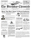 birthday chronicle, newspaper, front page newspaper, about day You was born on, birthday gift, Personalized Gifts, personalized-unique-gifts