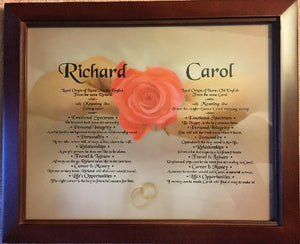 Two names together with meaning in frame, Richard, Carol,  Two names with meaning on background, couples two together, personalized-unique-gifts, weddings, couple Gift