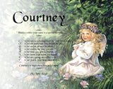 Acrostic poem for kids, Courtney, Child Angel girl with bunny, Poem Name, personalized gifts, personalized-unique-gifts
