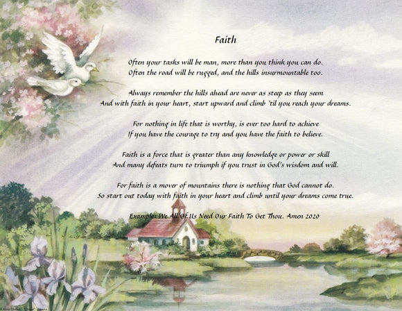 Select one of our personalized poem, Poem called Faith,  We all need Faith, This background has church  and flower also two doves, Personalized Gifts Personalized Poem, Personalized Unique Gifts, Personalize Gifts