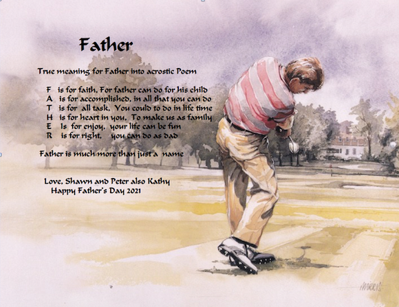 Make Your Own Acrostic Poem Into a Name, Father, Acrostic poem gift, Golf background with your own written acrostic poem, Personalized Gifts, personalized-unique-gifts