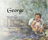 Acrostic poem for kids, George, Baby boy angel with Bull dog,  Poem Name, personalized gifts, personalized-unique-gifts
