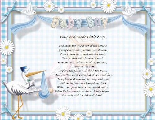 Why God Made Little Boy, Baby Boy, baby poem gift, Personalized Gift, personalized-unique-gifts