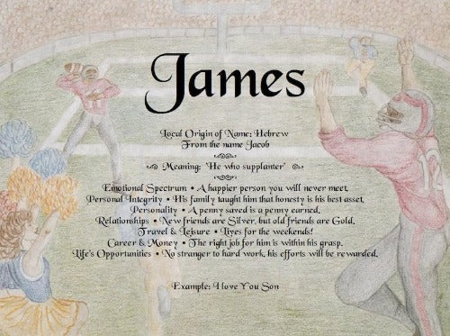 James, name meaning, First name meaning, background football, Personalized Unique Gifts, personalized Gifts