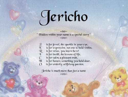 Baby Acrostic Poem, Jericho name poem, baby gift, personalized-unique-gifts, personalize gifts, personalized gifts