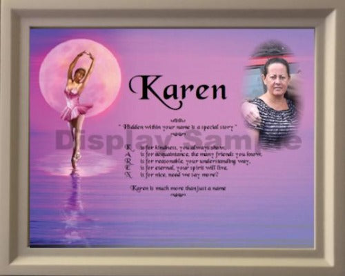 acrostic poem add your photo plus wooden frame, Karen, Personalized Gift, personalized-unique-gifts