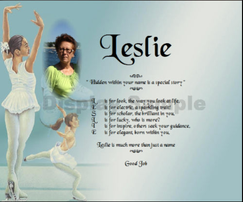 Acrostic poem gift, Poem with image on Ice skating screen for acrostic poem, Leslie Poem Name, personalize-unique-gifts